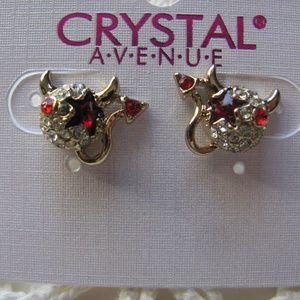 CRYSTAL AVE. Lil Devil Halloween Post Earrings Bra